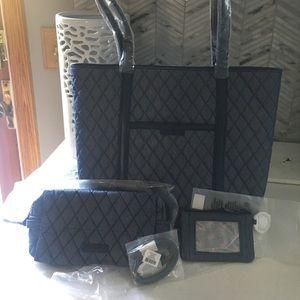 Vera Bradley Trimmed Tote Cosmetic Bag Bundle